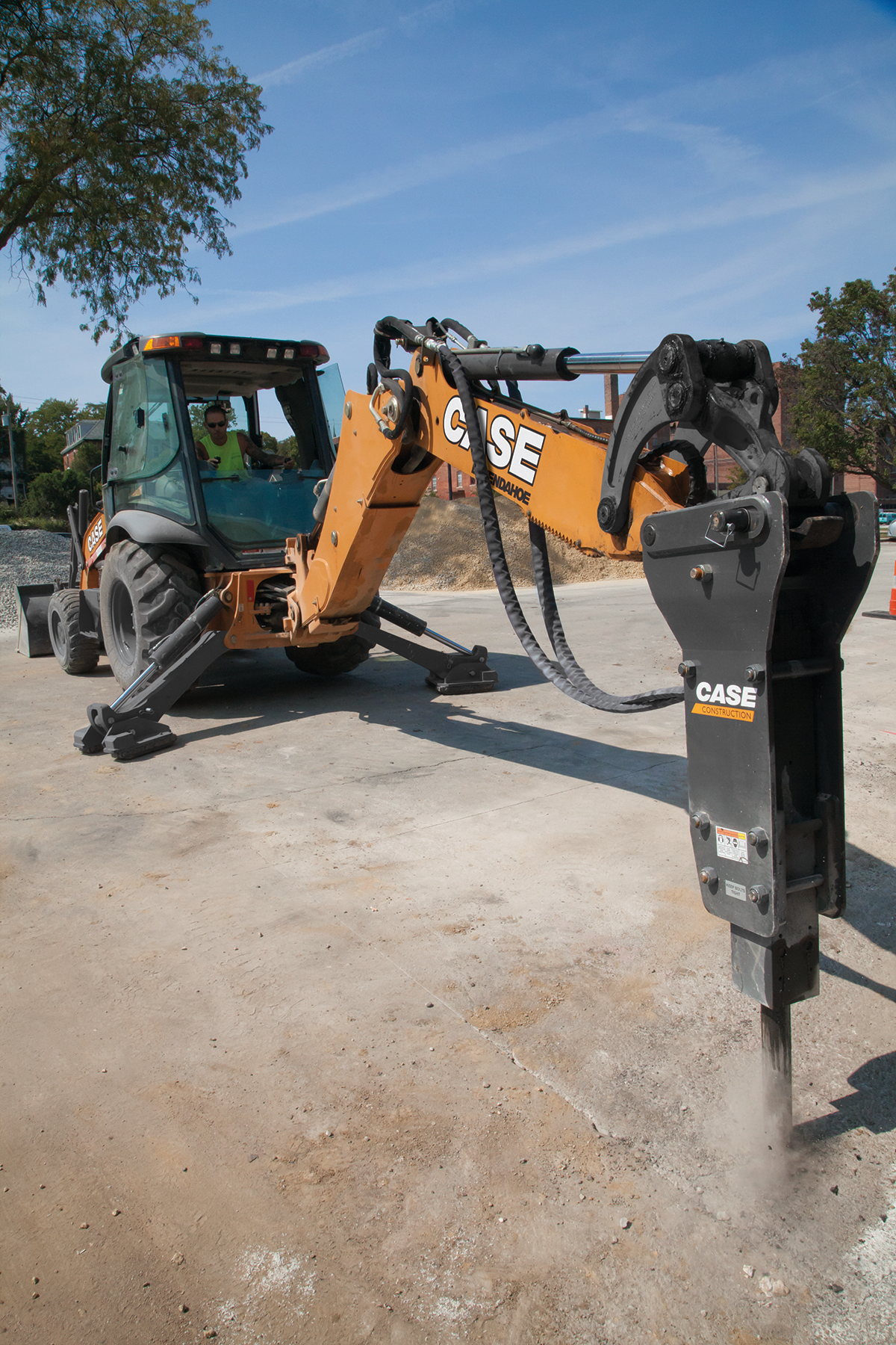 Case backhoe with hydraulic hammer