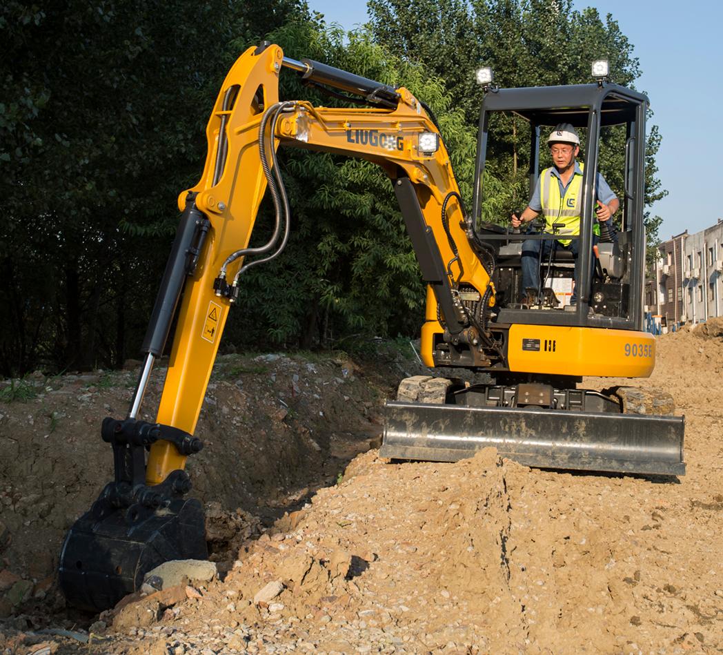 LiuGong 9035EZTS compact excavator trenching