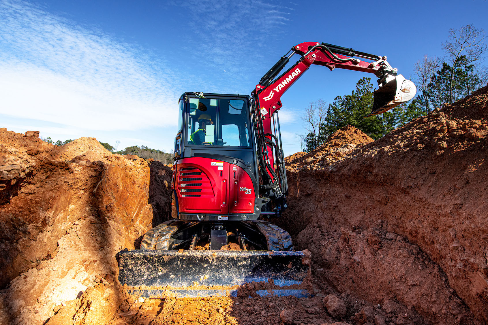 Yanmar ViO35-6A compact excavator in trench
